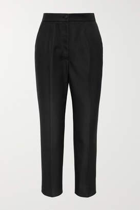 Dolce & Gabbana Silk-blend Straight-leg Pants - Black