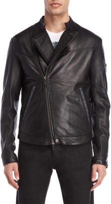 Armani Jeans Black Leather Asymmetrical Jacket