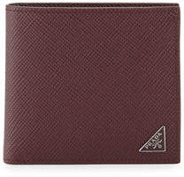 Prada Saffiano Leather Corner-Logo Wallet $370 thestylecure.com