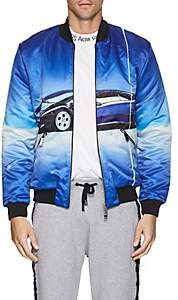 Blood Brother MEN'S CAR-PRINT SATIN BOMBER JACKET - BLUE SIZE XL