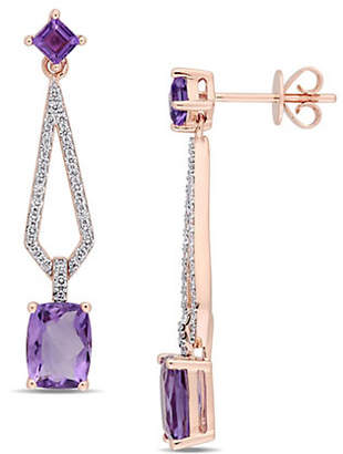 HBC CONCERTO Vault 14K Rose Gold and Amethyst Geometric Drop Earrings with 0.33 TCW Diamond