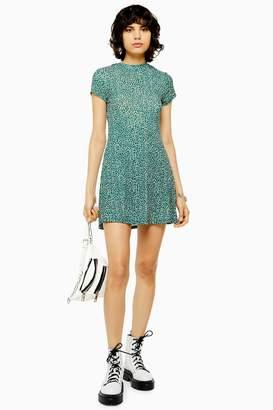 Topshop Ditsy Green Mesh Tea Dress