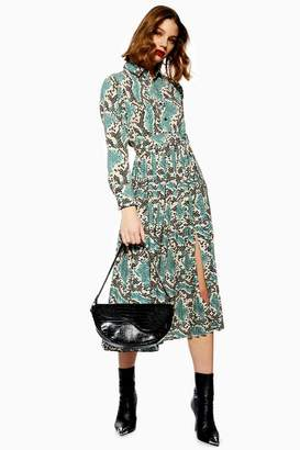 Topshop Python Pleated Shirt Dress