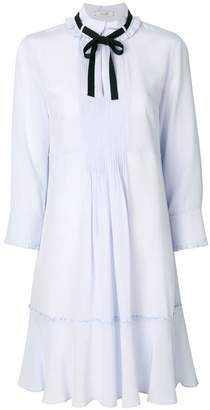 Schumacher Dorothee pleated bib dress with pussy bow