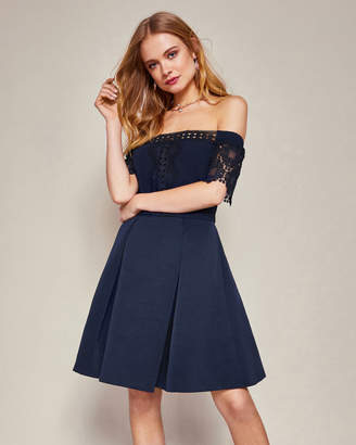 Ted Baker NOWELL Lace trim Bardot dress
