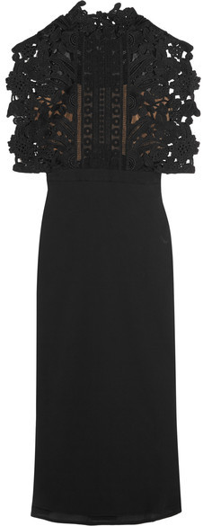 Self-Portrait - Guipure Lace And Crepe Midi Dress - Black