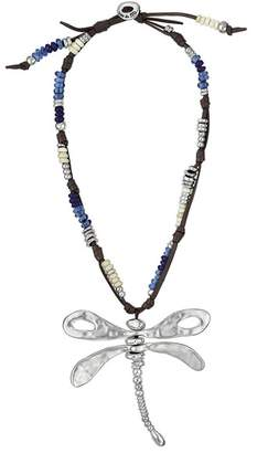 Uno de 50 Supercalidragonflystic Leather Choker Beaded Necklace