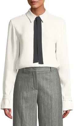 Loro Piana Long-Sleeve Silk Blouse w/ Contrast Necktie
