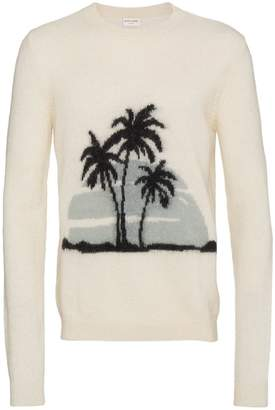 Saint Laurent palm tree intarsia knitted jumper