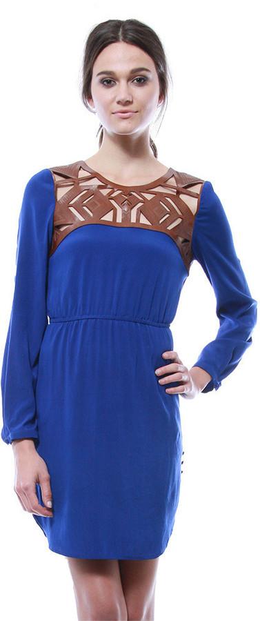 Cynthia Vincent Leather Yoke Dress