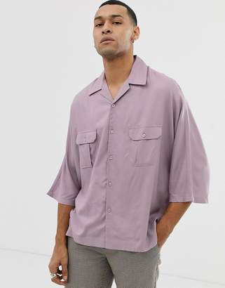 Asos Design DESIGN oversized viscose shirt with half sleeve in lilac
