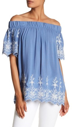 Pleione Embroidered Off-The-Shoulder Blouse $64 thestylecure.com