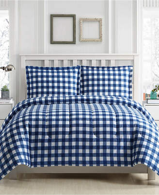 Ellison First Asia Gingham 3-Pc. Reversible Full/Queen Comforter Set, Created for Macy's Bedding