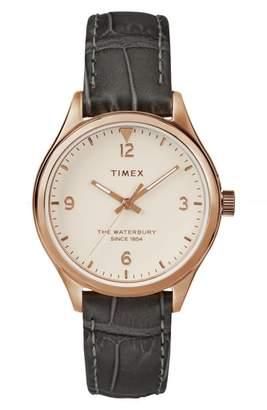 Timex R Waterbury Leather Strap Watch, 34mm