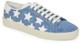 Saint Laurent Court Classic Denim Star Sneakers $595 thestylecure.com