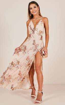 Showpo Golden State maxi dress in rose gold sequin