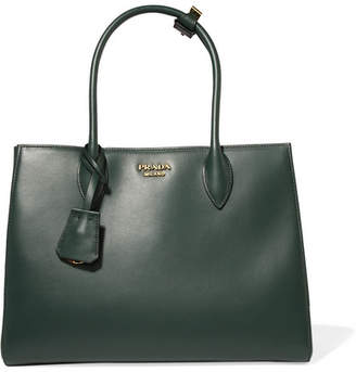 Prada Bibliothèque Medium Leather Tote - Emerald