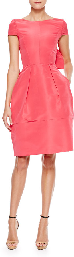 Oscar de la Renta Bow-Back Short-Sleeve Cocktail Dress, Amaranth
