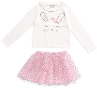 Toddler Girls Bunny Sweater With Ruffle Skirt