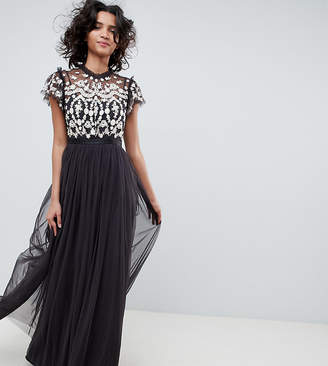 Needle & Thread embroidered bodice tulle maxi dress in graphite