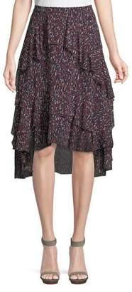 Joie Brigida Tiered Silk High-Low Skirt