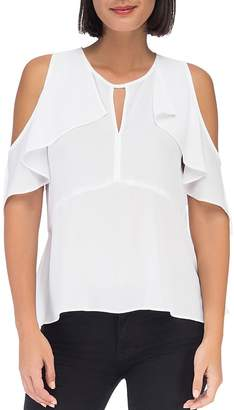 Bobeau B Collection by Pamela Cold-Shoulder Ruffle Top