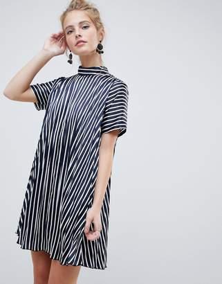 Asos DESIGN pleated trapeze mini dress in stripe