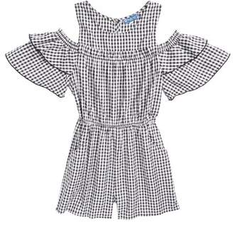 Truly Me Gingham Cold Shoulder Romper