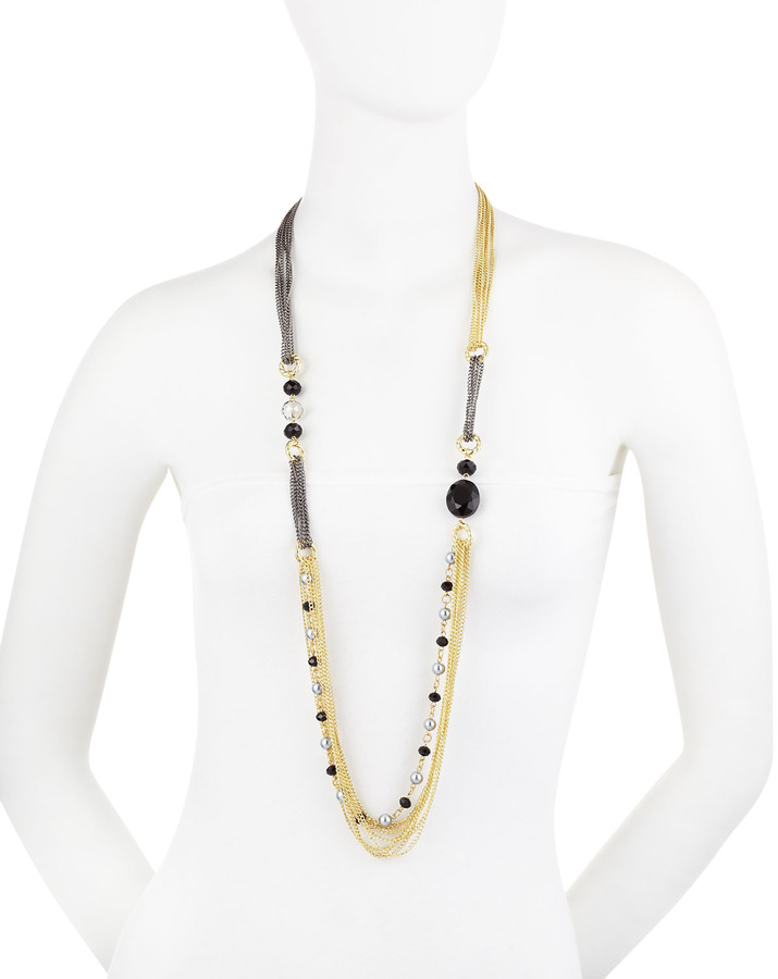 Greenbeads Mixed Chain Crystal Bead Necklace, Golden/Gunmetal