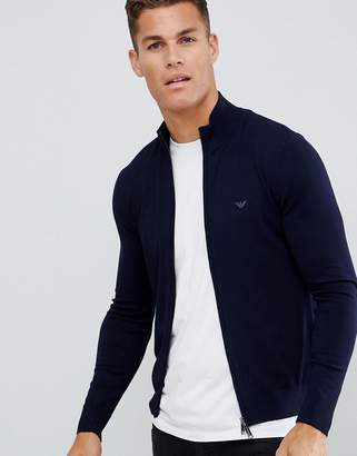 Emporio Armani zip through logo jumper in navy