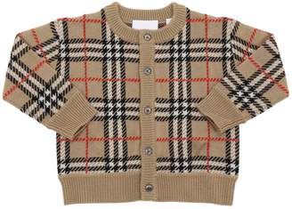 Burberry CHECK PRINT MERINO WOOL KNIT CARDIGAN