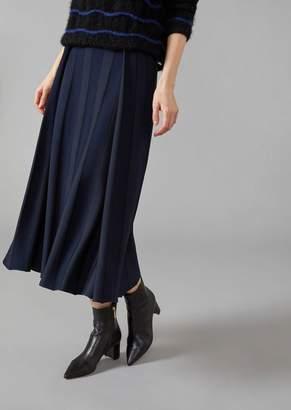 Giorgio Armani Mid-Length Skirt In Ottoman With Alternating Glossy And Matt Threads