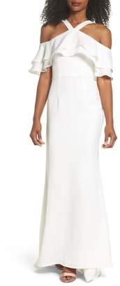 Jarlo Dianne Ruffle Top Halter Gown