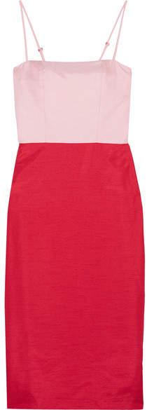 Staud - Enzo Two-tone Shantung Dress - Red