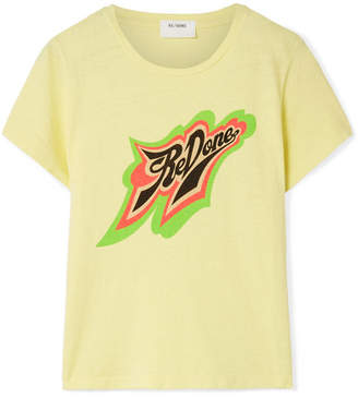 RE/DONE Printed Stretch-cotton Jersey T-shirt - Pastel yellow
