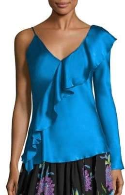Diane von Furstenberg Asymmetrical Sleeve Ruffled Front Blouse