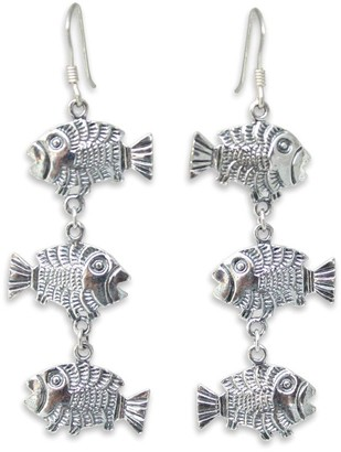 """Novica Artisan-Crafted Sterling """"Thai Fish"""" Earrings"""