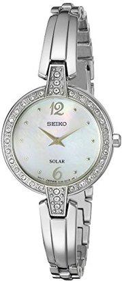 Seiko Women's SUP287 Solar Bangle Analog Display Japanese Quartz Silver Watch $250 thestylecure.com