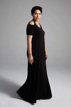 Shegul Amelia Cold Shoulder Dress in Black Size Large/20-22 Polyester
