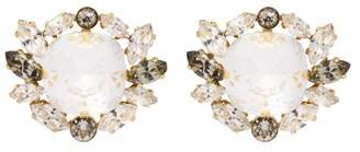 Dolce & Gabbana Crystal Embellished Clip On Earrings - Womens - Gold