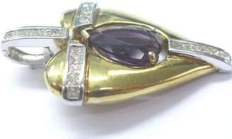 18K Two-Tone Gold Amethyst 6.60ct. Diamond Large Heart Pendant