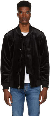 Saturdays NYC Black Velvet Flight Bomber Jacket