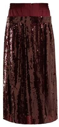 Tibi Sequin Embellished Silk Skirt - Womens - Burgundy
