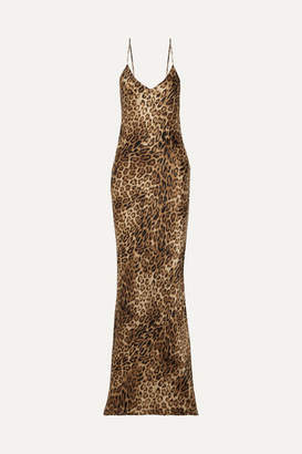 Nili Lotan Leopard-print Silk-satin Maxi Dress - Brown