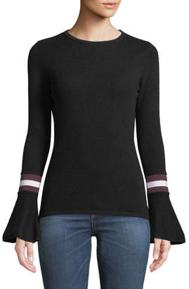 Neiman Marcus Cashmere Striped Flare-Sleeve Sweater