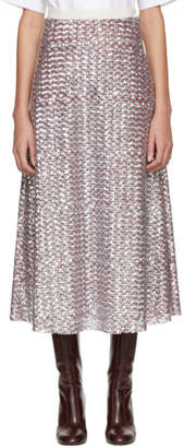 Molly Goddard Silver and Red July Skirt