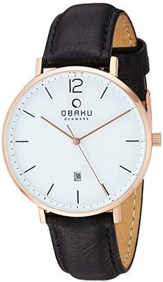 Obaku Stainless Steel Analog-Quartz Watch with Leather Strap