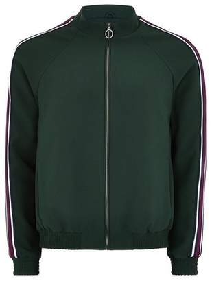 Topman Mens Green Zip Through Smart Track Top With Taping