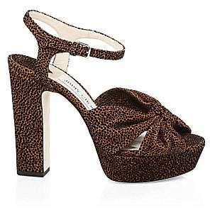 Jimmy Choo Women's Heloise Leopard Print Platform Sandals