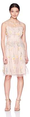 Jessica Howard Women's Petite Illusion Neck Dress with Embroidery